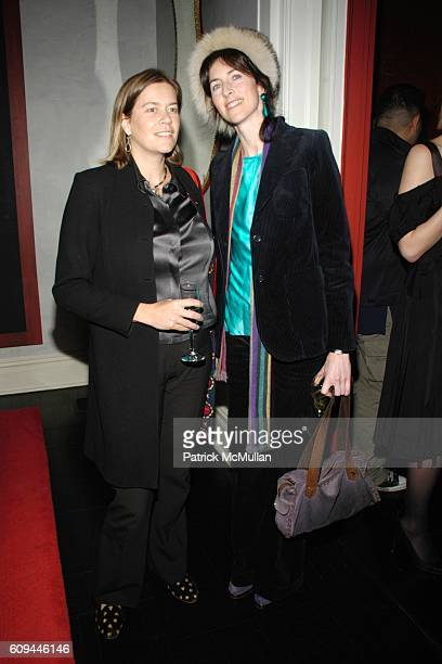 Ariadne CalvoPlatero and Lucinda Lawrence attend Hamish Bowles Ghislaine Maxwell and Lillian von Stauffenberg dinner for ALLEGRA HICKS at Home of...