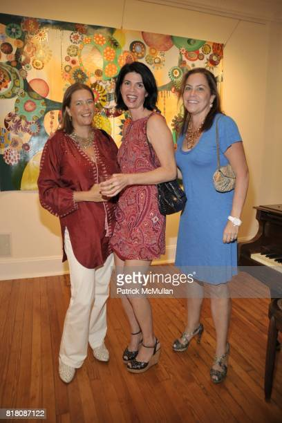 Ariadne CalvoPlatero Jessie Mezzacappa and Nina Richter attend MELINDA HACKETT Art Exhibit at 4 North Main Street Gallery on September 4 2010 in...
