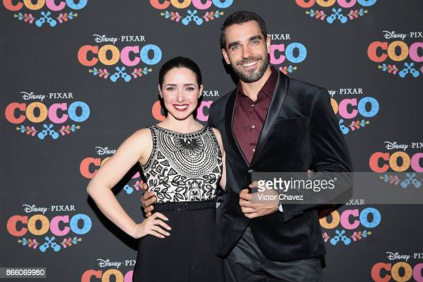 Ariadne Diaz and Marcus Ornelas attend the 'Coco' Mexico City premiere at Palacio de Bellas Artes on October 24 2017 in Mexico City Mexico