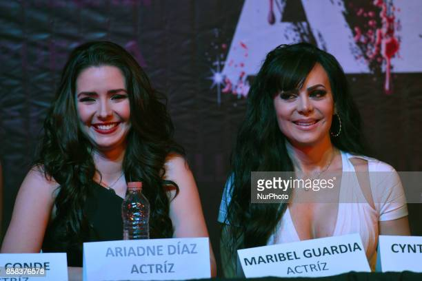 Ariadne Diaz and Maribel Guardia attends at 'Arpias' press conference to announce the launching of the Theater play on October 06 2017 in Mexico City...