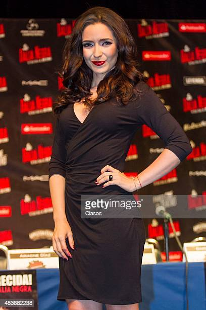 Ariadne Diaz poses for photos during the presentation of the new staging 'La Dalia Negra' at Foro Chapultepec on August 11 2015 in Mexico City Mexico