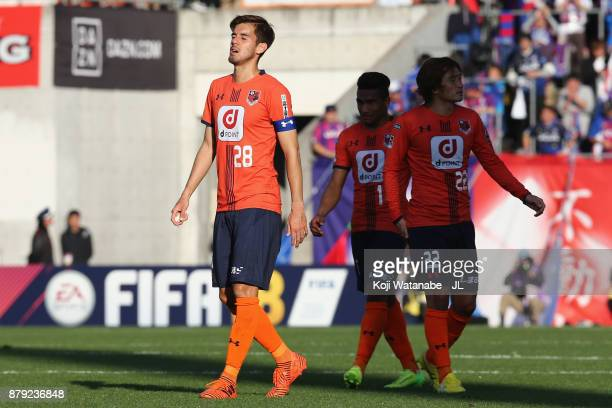 Ariajasuru Hasegawa of Omiya Ardija shows dejection after the scoreless draw and his side's relegation to the J2 after the J.League J1 match between...