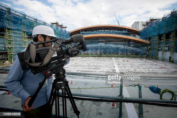 Ariake Gymnastics Center the venue for Gymnastics of Tokyo Olympics under construction is unveiled to media in Tokyo on November 7 2018 The facility...