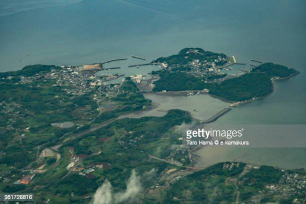 ariake sea and tara town in saga prefecture in japan daytime aerial view from airplane - 佐賀県 ストックフォトと画像