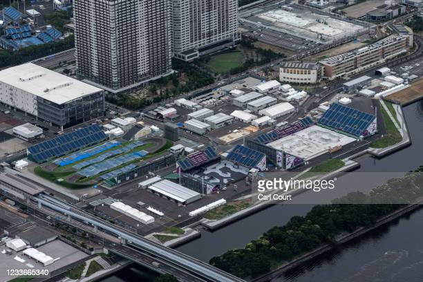 Ariake Urban Sports Park is pictured from a helicopter on June 26, 2021 in Tokyo, Japan. With less than one month to go before the start of the Tokyo...