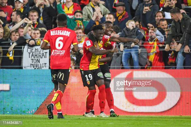 Arial Benadent Mendy and Thierry Ambrose of Lens celebrate during the Ligue 2 match between Lens and US Orleans at Stade BollaertDelelis on May 17...