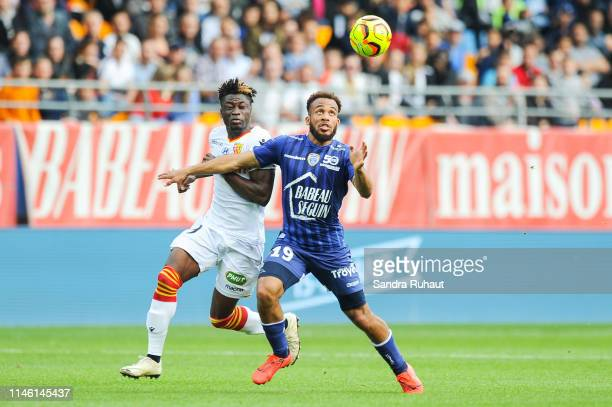 Arial Benadent Mendy of Lens and Bryan Mbeumo of Troyes during the Ligue 2 match between Troyes and Lens on May 24 2019 in Troyes France