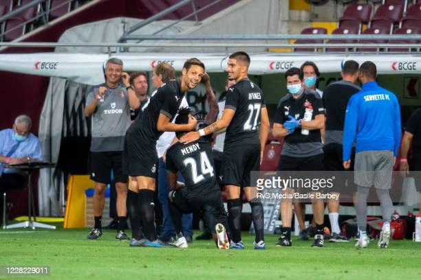 Arial Mendy of Servette FC celebrates with his teammates after scoring a goal during the UEFA Europa League qualification match between Servette FC...