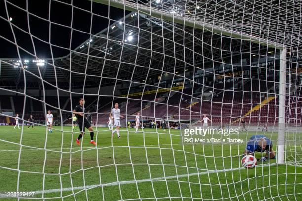 Arial Mendy of Servette FC scores a goal against Goalkeeper Matus Macik of MFK Ruzomberok during the UEFA Europa League qualification match between...