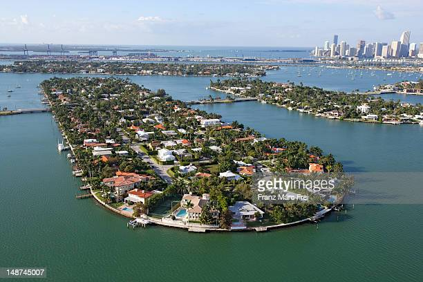 Arial of Venetian Islands in Biscayne Bay and downtown Miami.