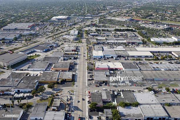 Arial of warehouses on Business Road, Kendall.