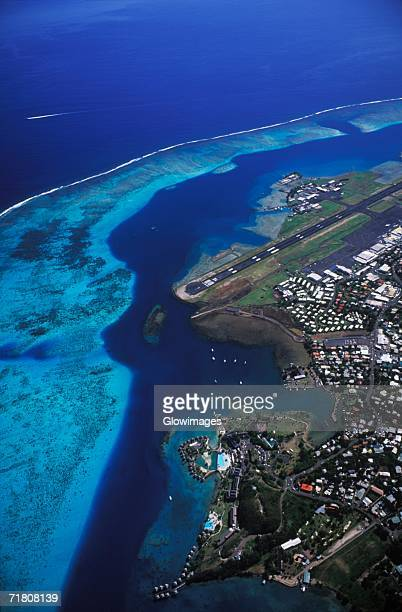 Arial view of a city along the sea, Hawaii, USA
