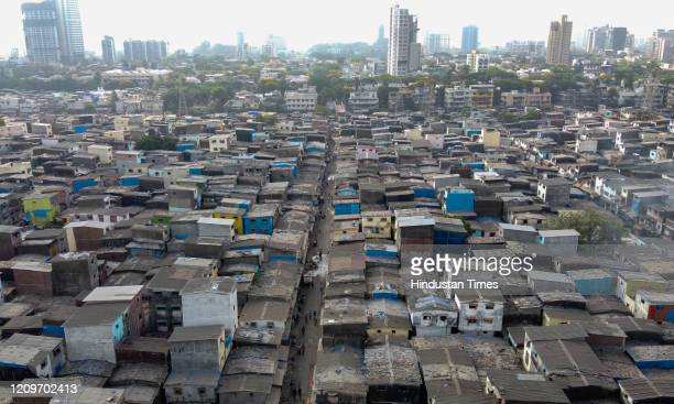Arial view of Asia's largest slum Dharavi during lockdown on April 8 2020 in Mumbai India