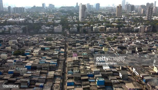 Arial view of Asia's largest slum Dharavi during lockdown, on April 8, 2020 in Mumbai, India.