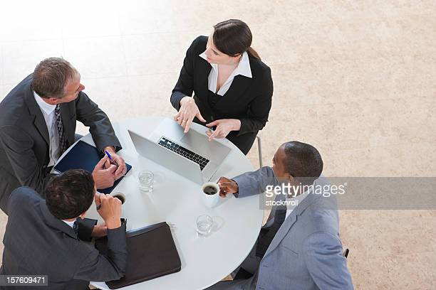 arial view of Business Group Working on a laptop