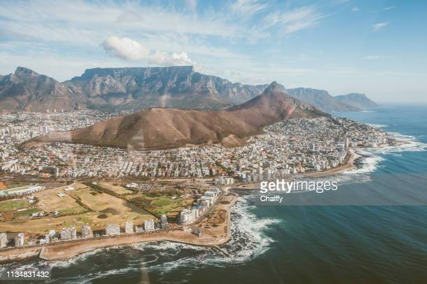 arial view of cape peninsula - cape town stock pictures, royalty-free photos & images