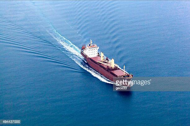 Arial View of Cargo Ship