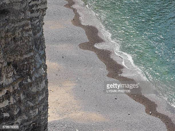 Arial view of cliff and pebble beach