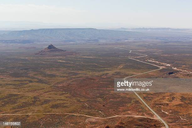 Arial view of desert landscape