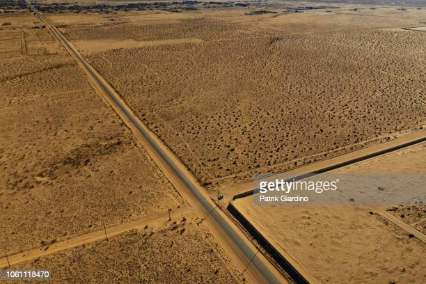 Arial view of empty road in the desert