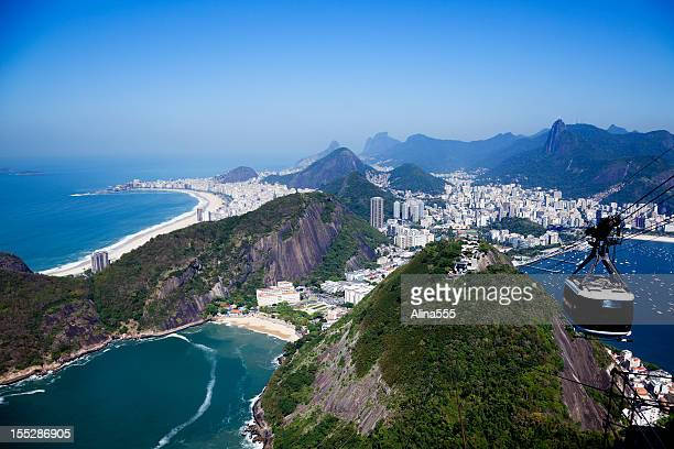 arial vista da famosa praia de copacabana, vermelha e beache - pão de açúcar - fotografias e filmes do acervo