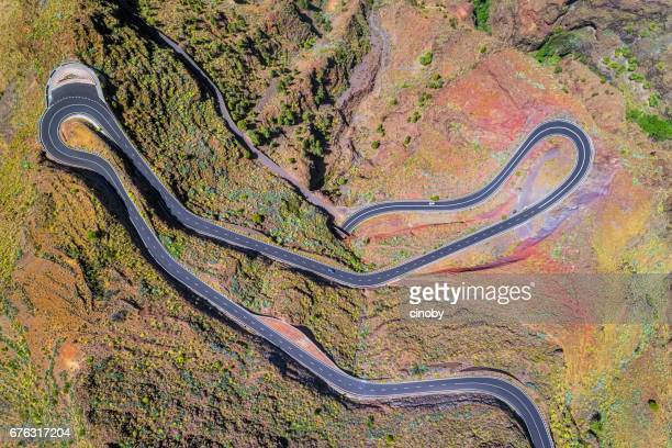 Arial View of Hairpin turns near by Valle Gran Rey on Canary Islands La Gomera in the province of Santa Cruz de Tenerife - Spain