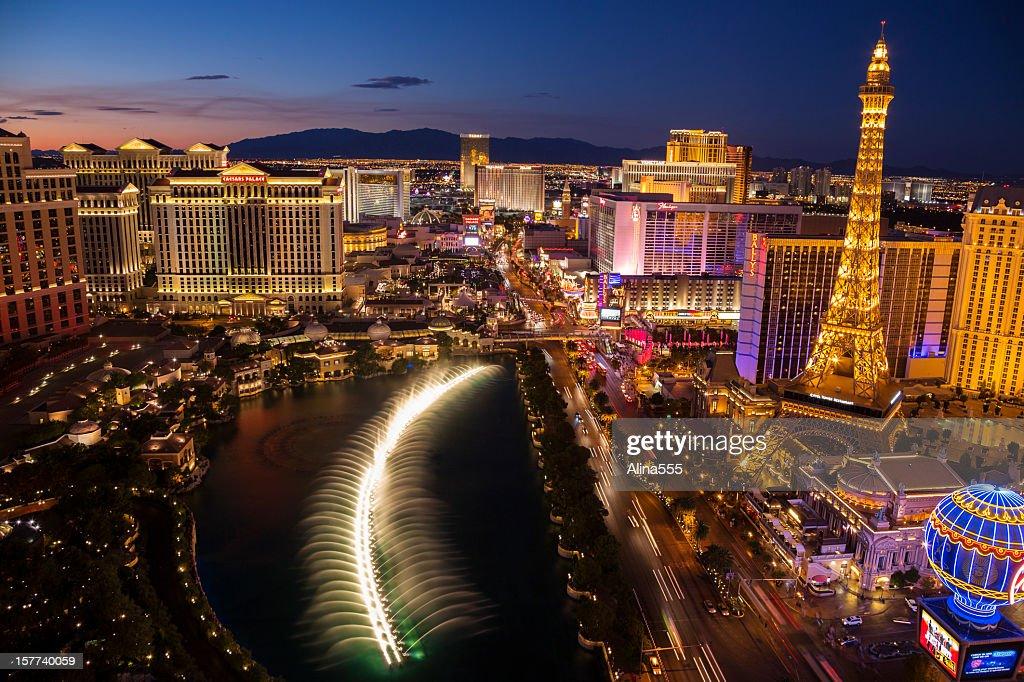 Arial view of Las Vegas Strip at sunset : Stock Photo