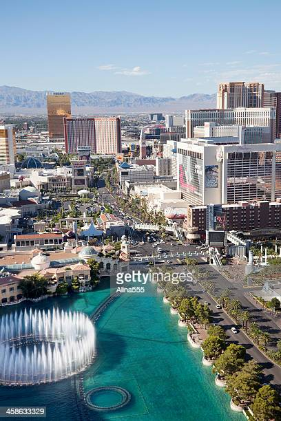 arial view of las vegas strip - harrah's stock pictures, royalty-free photos & images
