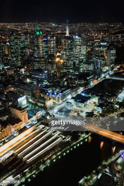 Arial View of Melbourne at Night