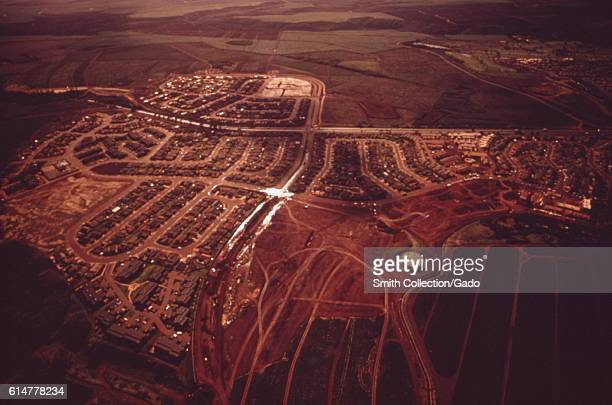 Arial view of Mililani Oahu Hawaii where pineapple growers are developing their own surplus land October 1973