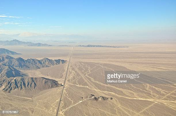Arial view of Panamericana Sur and Nazca Plain