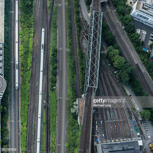 arial view of railway tracks at cologne - high speed train stock pictures, royalty-free photos & images