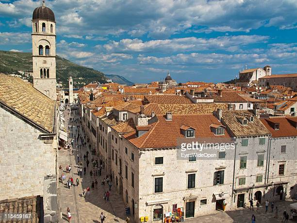 Arial view of the ancient monuments and restored buildings of the UNESCO World Heritage Site city of Dubrovnik on the Dalmatian coast of the Adriatic...