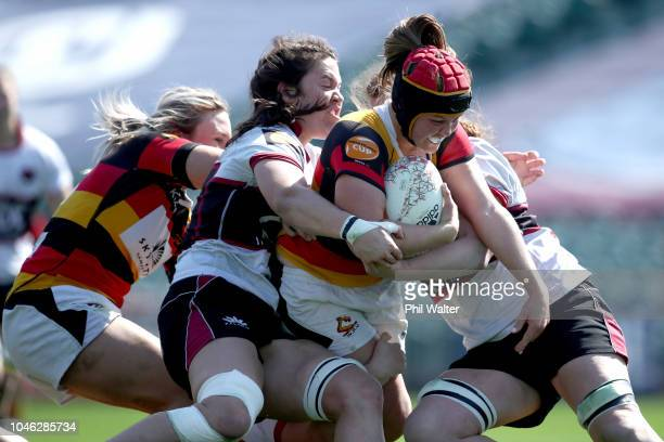 Ariana Bayler of Waikato is tackled during the round six Farah Palmer Cup match between North Harbour and Waikato at QBE Stadium on October 6 2018 in...