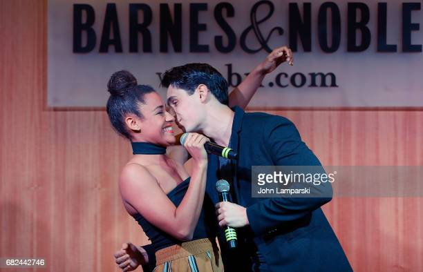 Ariana Debose and Bobby Conte Thornton from the cast and creators of Broadway's A Bronx Tale perform during the signing of the copies of the shows...