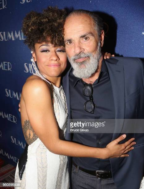 Ariana DeBose and Bruce Sudano pose at the opening night after party for Summer The Donna Summer Musical on Broadway at The New York Marriott Marquis...
