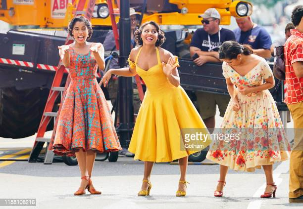 Ariana DeBose and David Alvarez on the set of 'West Side Story' on July 27 2019 in New York City