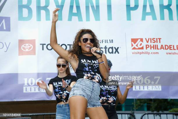 Ariana DeBose from the cast of Summer The Donna Summer Musical performs during 1067 LITE FM's Broadway in Bryant Park on August 9 2018 at Bryant Park...