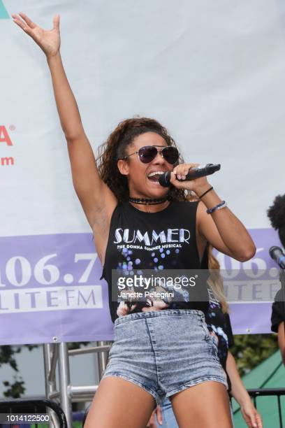 Ariana DeBose from the cast of 'Summer The Donna Summer Musical' performs at 1067 LITE FM's Broadway in Bryant Park on August 9 2018 in New York City