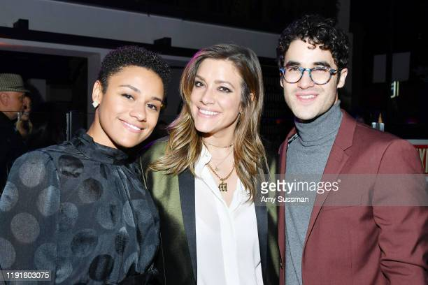 Ariana Debose Mia Swier and Darren Criss attend the after party for the premiere of Showtime's The L Word Generation Q at Hotel Figueroa on December...