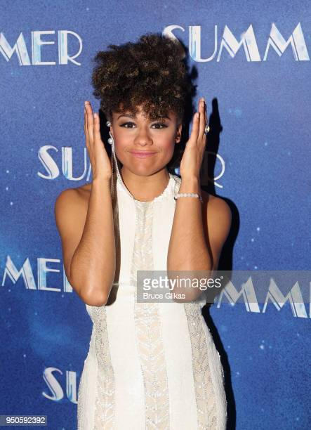 Ariana DeBose poses at the opening night after party for Summer The Donna Summer Musical on Broadway at The New York Marriott Marquis Hotel on April...