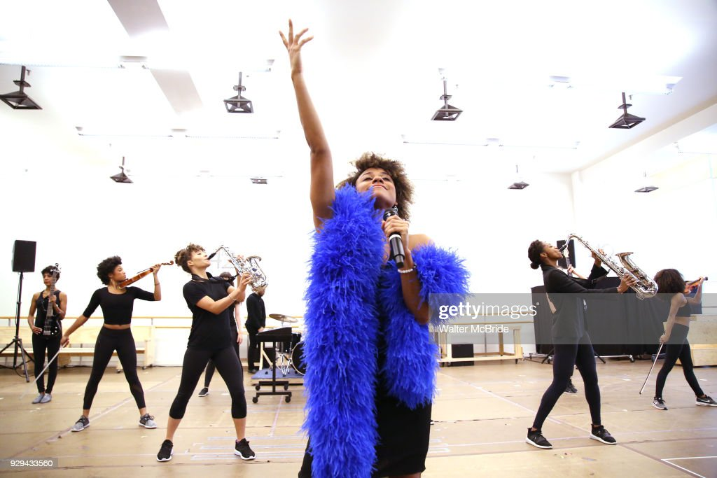Ariana DeBose with cast during the press presentation for 'Summer: The Donna Summer Musical' on March 8, 2018 at the New 42nd Street Studios, in New York City.