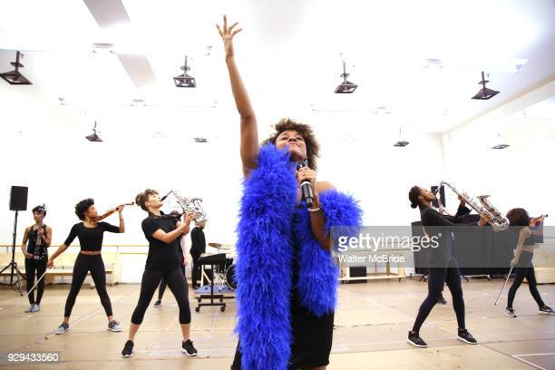 Ariana DeBose with cast during the press presentation for 'Summer The Donna Summer Musical' on March 8 2018 at the New 42nd Street Studios in New...