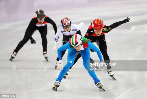Ariana Fontana is seen during the Short Track Speed Skating Women's 500m on day four of the PyeongChang 2018 Winter Olympic Games at Gangneung Ice...