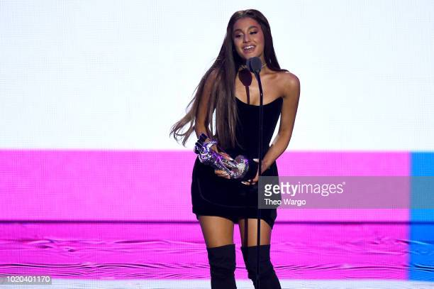 Ariana Grande accepts an award onstage during the 2018 MTV Video Music Awards at Radio City Music Hall on August 20 2018 in New York City
