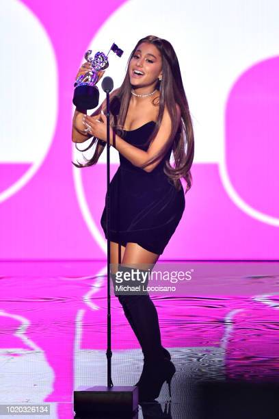 Ariana Grande accepts the award for Best Hip Hop Video onstage during the 2018 MTV Video Music Awards at Radio City Music Hall on August 20 2018 in...