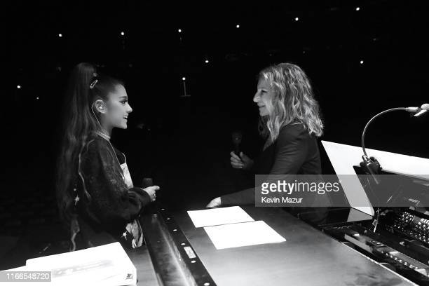 Ariana Grande and Barbra Streisand rehearse before Barbra's performance at United Center on August 06, 2019 in Chicago, Illinois.