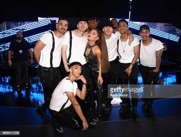 Ariana Grande and dancers are seen backstage at the 2018 iHeartRadio Wango Tango by ATT at Banc of California Stadium on June 2 2018 in Los Angeles...