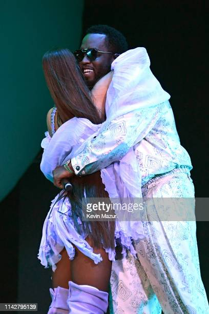 Ariana Grande and Diddy perform on Coachella Stage during the 2019 Coachella Valley Music And Arts Festival on April 14 2019 in Indio California