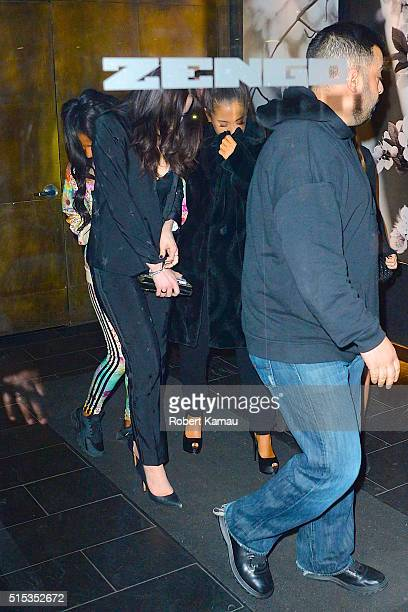 Ariana Grande and her friends seen leaving the SNL after party at Zengu restaurant on March 12 2016 in New York City